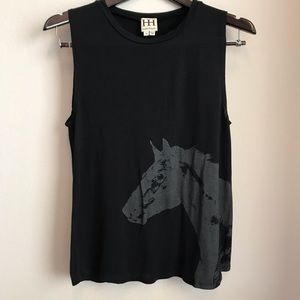 Haute Hippie black tee with horse print size small